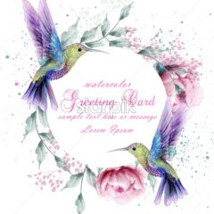 Greeting card with watercolor humming bird frame. Vector illustration