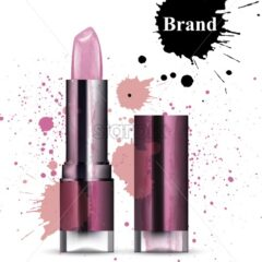 Lipstick cosmetics watercolor Vector. Product packaging design. Brand mock up cosmetics template, delicate pink color