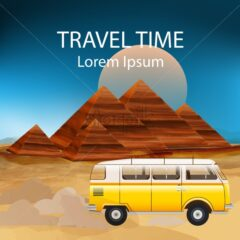Summer Travel car Vector. Camping trailer on sunset background