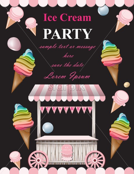 Ice Cream Party Invitation Card Vector Summer Ice Cream Stand Birthday Card Or Event Poster