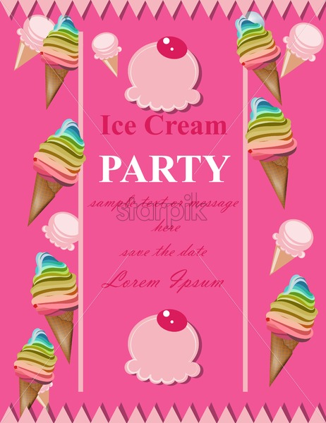Ice Cream Pink Party Invitation Card Vector Summer Birthday Card Or Event Poster