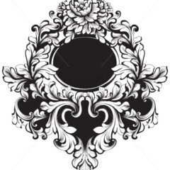 Round Frame Vector. Classic rich ornamented carved decors. Baroque sophisticated design