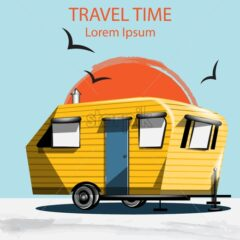 Summer Travel car Vector. Camping trailer on blue background