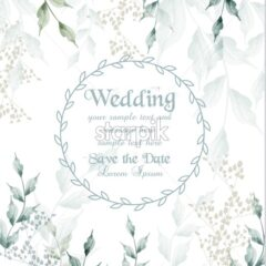 Wedding card round frame watercolor green leaves Vector illustration