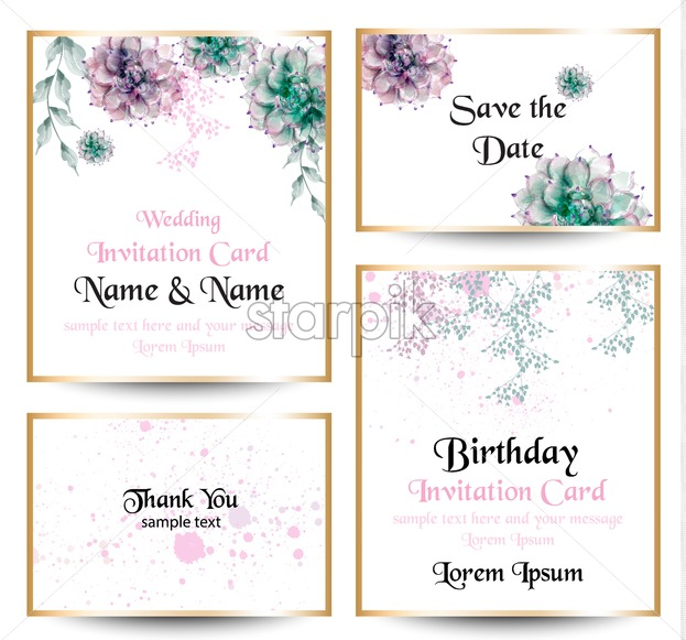 Watercolor Flowers Blossom Card Set Vintage Greeting Cards Wedding