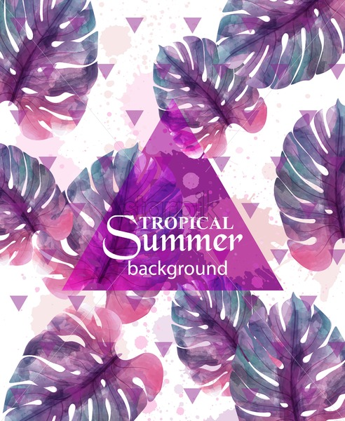 Hot Un Stock >> Summer Tropic Palm Leaves Vector Exotic Hot Background Illustration