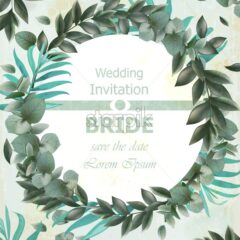 Wedding invitation Vector frame. beautiful round wreath with green leaves decor