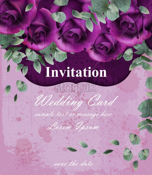 Wedding Invitation Card With Purple Violet Roses Decor Design