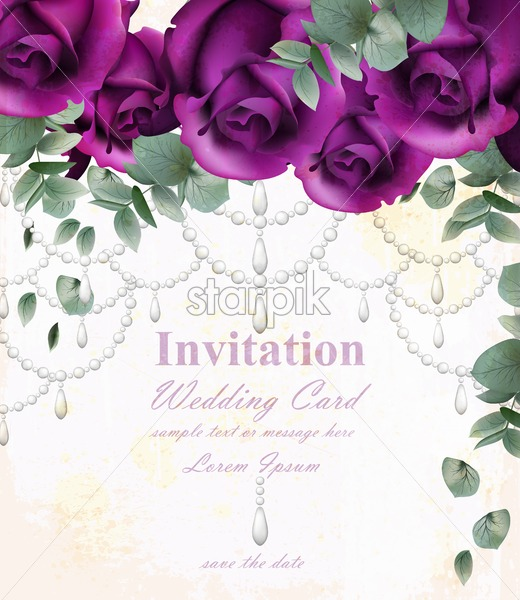 Wedding Invitation Card With Purple Violet Roses And Precious Stones