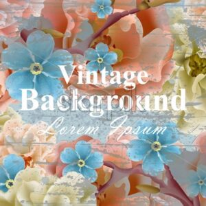 Vintage flowers card Vector. Spring Beautiful floral decor. Banner poster template 3d background