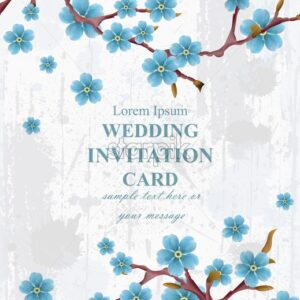 Wedding invitation card Vector. Blue spring flowers. Beautiful vertical floral frame 3d background