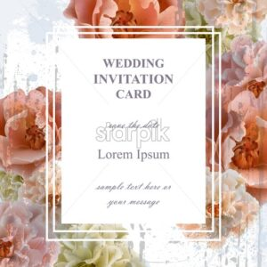 Wedding invitation card Vector. Beautiful floral frame vertical. Banner poster template 3d background