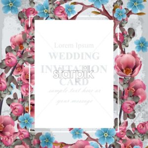 Wedding invitation card Vector. Blue and pink spring flowers. Beautiful vertical floral frame 3d background