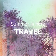 Vintage Summer travel card Vector. Palm trees tropic backgrounds. Ultra violet trendy color