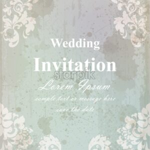 Vintage wedding invitation card. Baroque royal decor. Old paper effect style