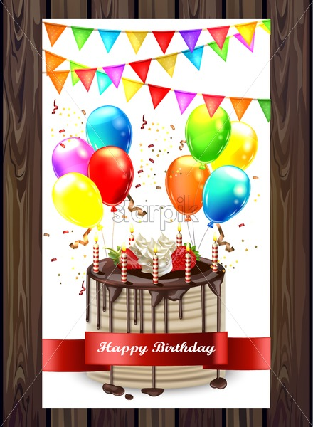 Happy Birthday Cake With Balloons And Confetti Vector Invitation Card 3d Detailed Illustration