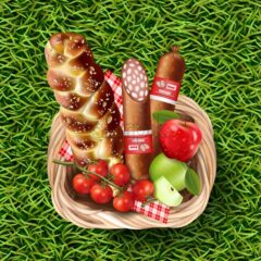 Basket full of food products on green grass Vector realistic. Meat and cherry tomatoes 3d detailed illustration