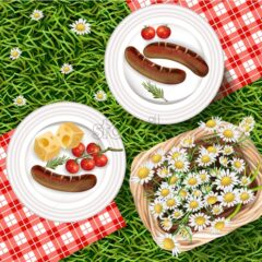 Summer Picnic outdoors realistic Vector. Grilled sausages on white plate with gigham pattern. Chamomile basket and green grass background