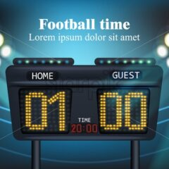 Electronic board for football game score Vector illustration