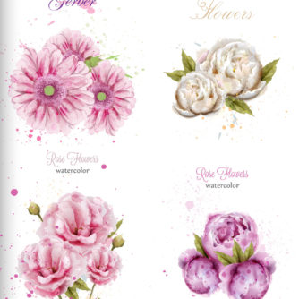 Vintage watercolor flowers decoration. Vector handmade floral collection, roses and tropical flowers for cards, posters, banner, flyers
