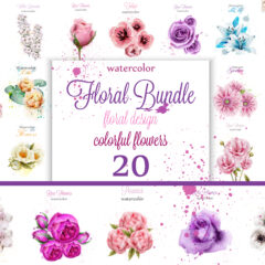 Vector Mega bundle 20 vintage watercolor flowers decorations