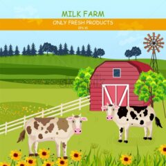 Cows in the farm Vector. Green fields summer outdoors background