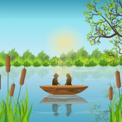 Romantic couple Lake summer background Vector illustration