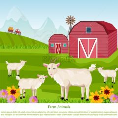 Goats at the farm Vector. Red village house. green summer background