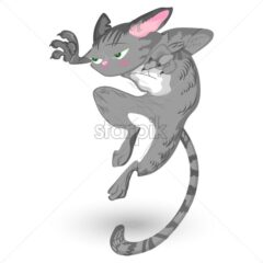 Cat attack Vector. Detailed cartoon character, funny illustration