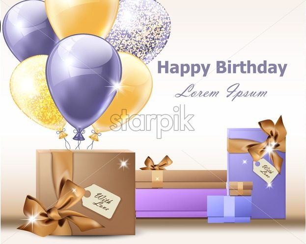 Happy Birthday Balloons Vector Invitation Card Party Gifts Background