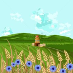 Green fields Vector. Spring background decor illustration