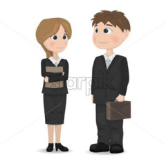 Man and woman talking Vector. Businessman, teacher or manager professions Vector. cartoon character