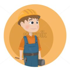 Man worker construction builder Vector. Cartoon character