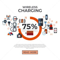 Digital vector wireless charging icons set with drawn simple line art info graphic, flat style