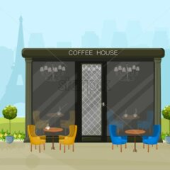 Modern coffee house Vector. Architecture facades background