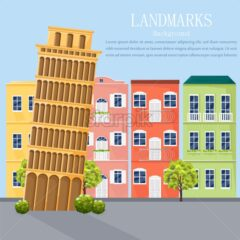 Italy cityscape architecture facades Vector. Colorful cartoon style background illustration