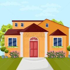 House architecture facade Vector. Colorful cartoon style illlustration