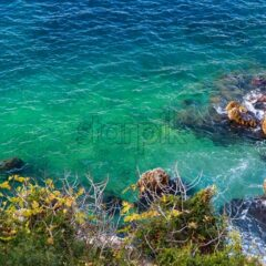 Clear sea shore with rocks and green and blue waters in Nice, France