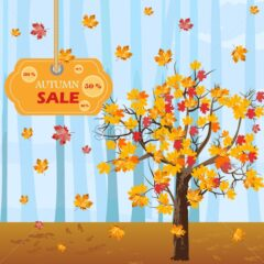 Autumn tree Vector. Fall sales background. flat style