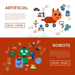 Digital vector machine automation and artificial intelligence robots simple icons set collection flat style infographics
