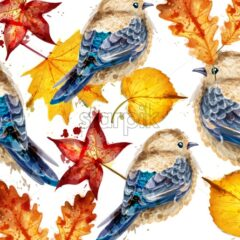 Autumn background with watercolor small birds and leaves Vector. Colorful fall season template. painted style decor