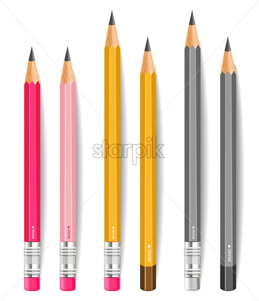 Pencils Vector Realistic Writting Or Drawing Tools Isolated On
