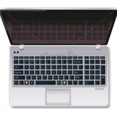 Computer laptop Vector realistic isolated on white. top view 3d illustration