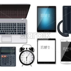 Business gadgets set Vector realistic. Computer, tablet, phone and calculator