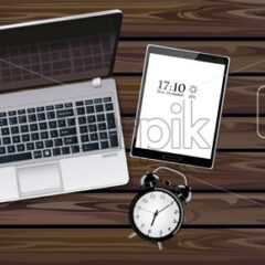 Laptop, tablet and phone Vector realistic. New technology gadgets. Top view. Detailed 3d illustration