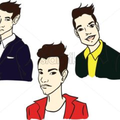 Boys Vector line art cartoon characters. Storyboard, project advertise template