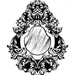 Baroque Mirror frame Vector. French Imperial Luxury rich intricate ornamented details. Victorian Royal Style decor