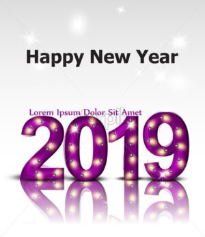 2019 shinny lights text card Vector. Happy New Year template layout or invitation card - starpik