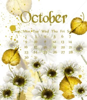 Autumn October calendar with golden leaves Vector. Fall watercolor style decor - starpik