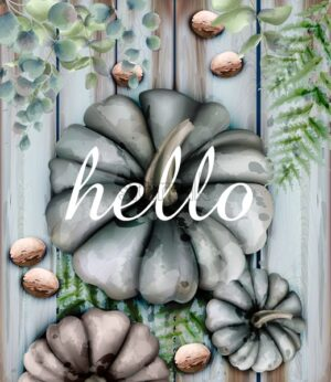 Autumn card with gray pumpkins Vector watercolor style decor soft colors - starpik